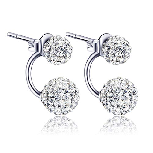 Benlet 1 Pair Women Jewelry Silver Double Beaded Rhinestone Crystal Stud Earrings Stud