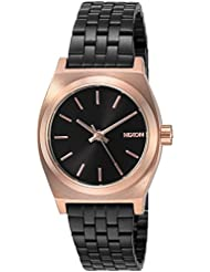 Nixon Womens Small Time Teller Quartz Metal and Stainless Steel Watch, Color:Black (Model: A3992481-00)