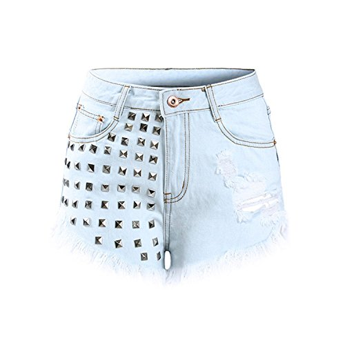 Rankei Women`s High Waist Metal Rivets Studded Ripped Denim Short Shorts for Woman,42,LightBlue