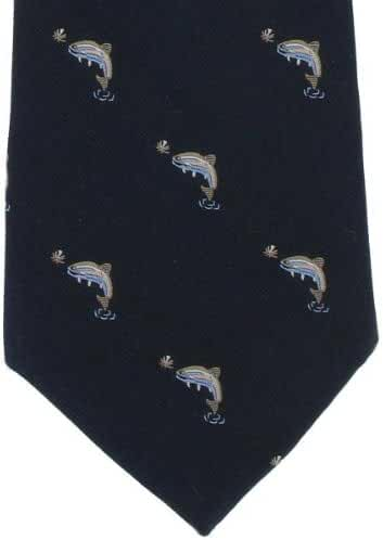 Navy Fish Silk Tie by Michelsons of London