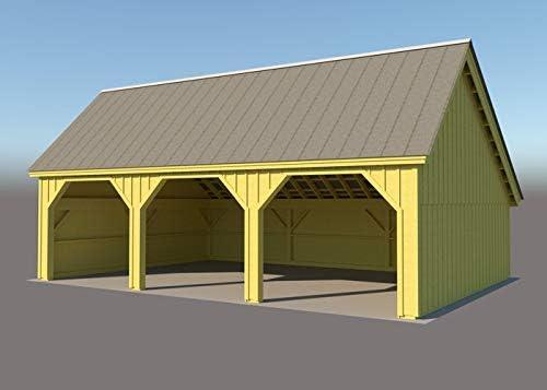24 x 36 Marco de madera Post & Beam Equipment Shed Plans/Garage Plans/Barn Planes con tres bahías – Step-By-Step DIY planes de construcción: Amazon.es: Bricolaje y herramientas