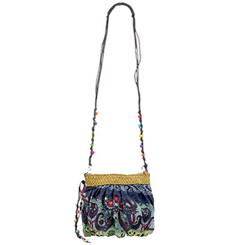 Donalworld Women Hipster Flower Cloth Crossbody Purse Straw Bag Blue