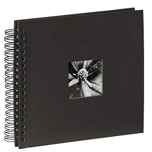 - Hama Fine Art Photo Album, 50 Black Pages (25 Sheets), Spiral Album 28 x 24 cm, with Cut-Out Window, Black