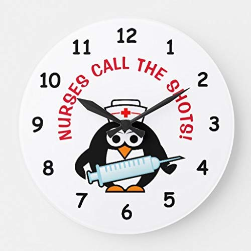 Enidgunter Funny Nursing with Cute Penguin Nurse Wall Clock Decor for Bedroom Nursery Round Silent Wood Clock Art for Kids Girls Boys Room 12 inches