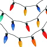 VanRayal Classic Faceted C9 Christmas Decorative Lights Colored, 17ft 25led Roofline Light String for Patio,Tree,Garden,Party Wedding Holiday Mood Lighting,UL Safety Cert