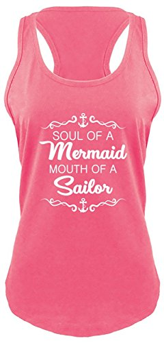 Comical Shirt Ladies Racerback Tank Soul of Mermaid Mouth of Sailor Hot Pink with White Print L