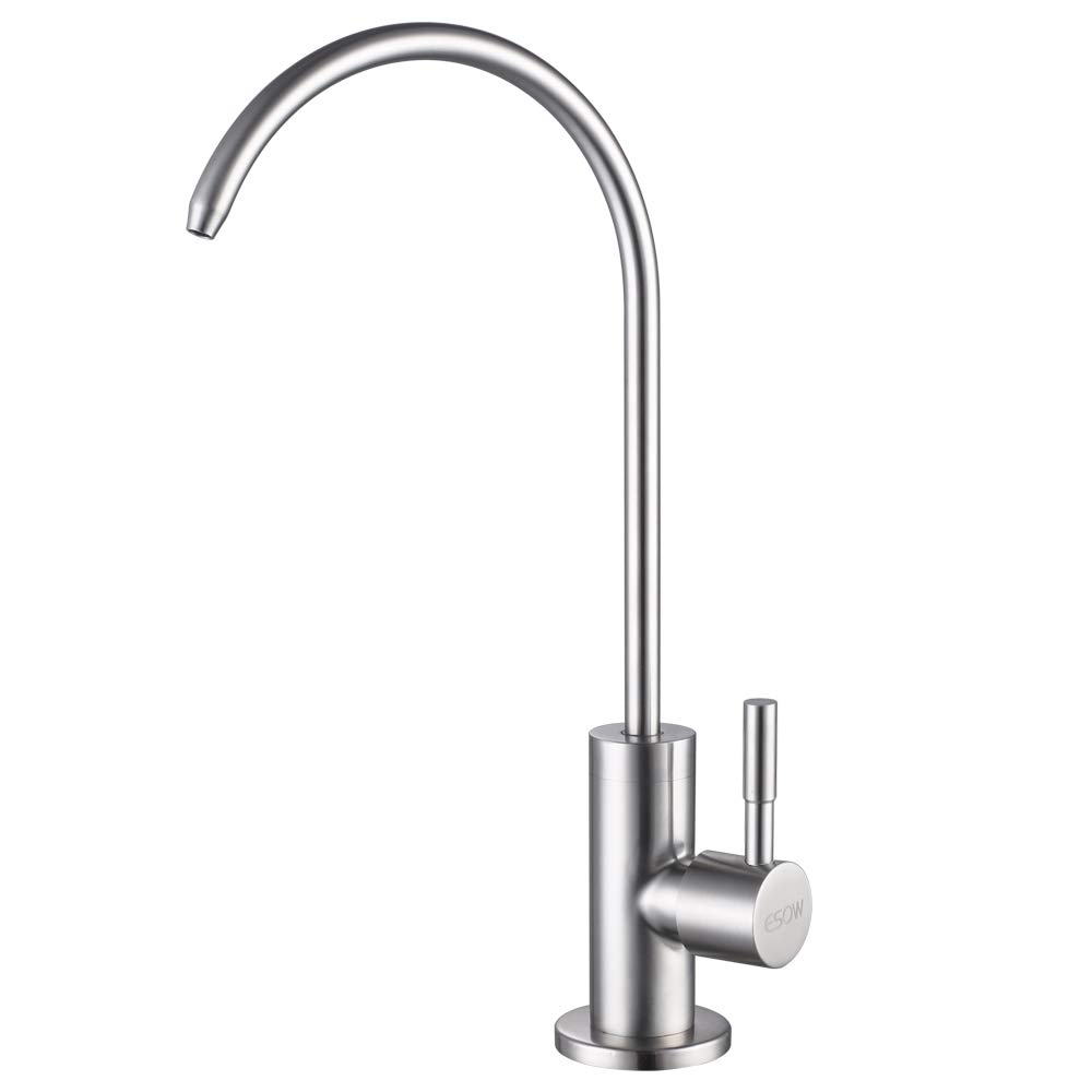 ESOW Kitchen Water Filter Faucet, 100% Lead-Free Drinking Water Faucet Fits most Reverse Osmosis Units or Water Filtration System in Non-Air Gap, Stainless Steel 304 Body Brushed Nickel Finish by ESOW