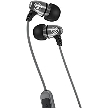 JLab Audio Metal Bluetooth Wireless Rugged Earbuds - Gunmetal - Titanium 8mm Drivers 6 Hour Battery Life Bluetooth 4.1 IP55 Sweat Proof Rating Extra Gel Tips and Cush Fins