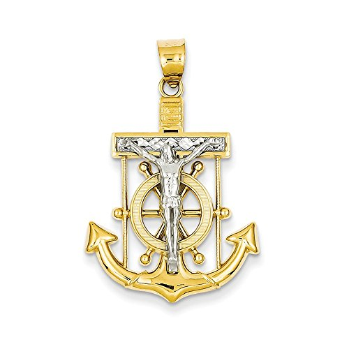 - 14k Two tone Gold Mariner's Cross Pendant