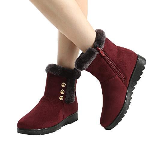 (Women's Winter Snow Boots, Duseedik Ladies Ankle Short Snow Booties Fur Footwear Warm Shoes)