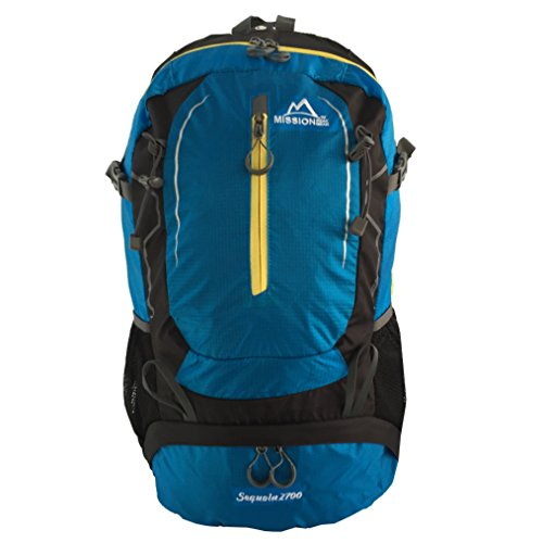 Ripstop Nylon Daypack (MISSION PEAK GEAR Sequoia 2700 45L Internal Frame Hiking Backpack Daypack, PFS Polymer Form Suspension, Ripstop Nylon, Waterproof Rain Cover, Trekking, Camping, Travel, Backpacking, School, Laptop Bag)
