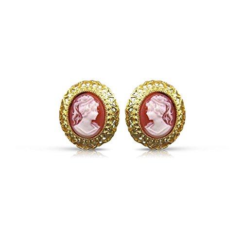14K YELLOW GOLD LADY SHELL CAMEO FILIGREE OMEGA CLIP EARRINGS #20543