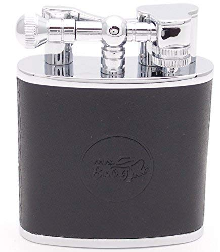 - Mrs. Brog Huge Table Top Cigar Lighter - Black Leather - Twin Torch Flame