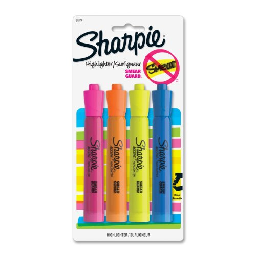Sharpie 25174PP Tank-Style Highlighters, Chisel Point, SmearGuard Ink Technology, 4 Highlighters per Box, Pack of 12 Box, Assorted Colors