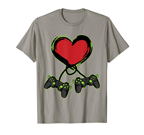 Video Gamer Heart Controller Valentine's Day Shirt Kids Boys
