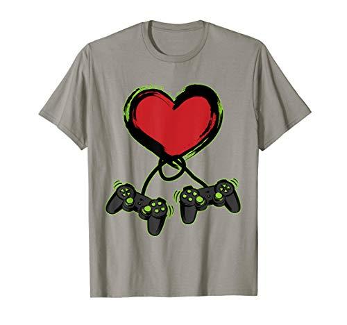 Video Gamer Heart Controller Valentine's Day Shirt Kids - Double Hem
