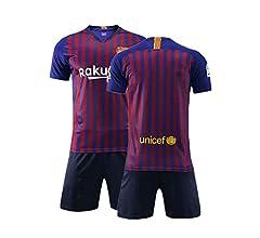 Daoseng Camiseta Jersey Futbol Barcelona 2018-2019 Traje de niños Manga  Corta + Pantalones Cortos (Azul d6c0b18d3bbe6