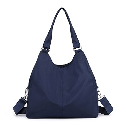 Women And Travel Capacity Purse Hobo Tote Navy Blue Nylon Big Handbag Organzier Multi Bag Shoulder function Waterproof rwrxOCqP