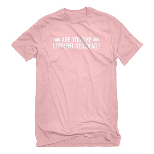 Indica Plateau Mens Are You The Current Resident? Small Light Pink T-Shirt