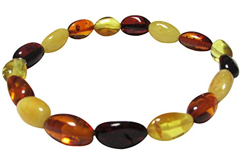 Amber Corner Adult Multi Colour Genuine Baltic Amber 18cm Stretch Oval Bracelet