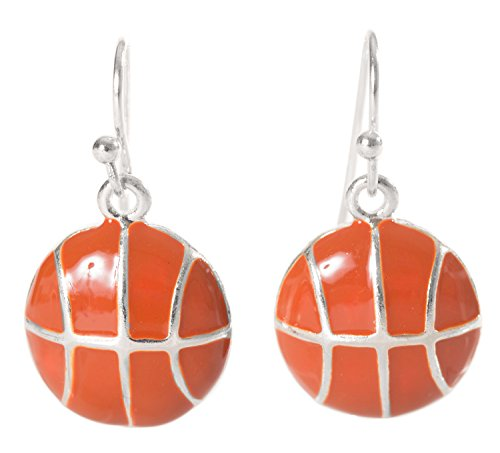Artisan Owl - Enamel Basketball Sport Dangle Earrings (Basketball Owls)