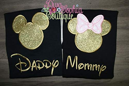 Daddy and Mommy Mickey and Minnie Pink and Gold Set Black T-shirts by Diva Sophia Boutique