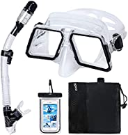 Tarnel Snorkel Set for Adults, Diving Mask with Anti-Fog Tempered Glass, Anti-Leak Dry Top Snorkel Mask, Easy