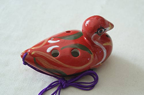 Cute 6 Holes Duck shape Alto pitch Porcelain / Ceramic Ocarina Various shade / Red, strip of white, dark green and yellow mixed pattern - Alta Shades
