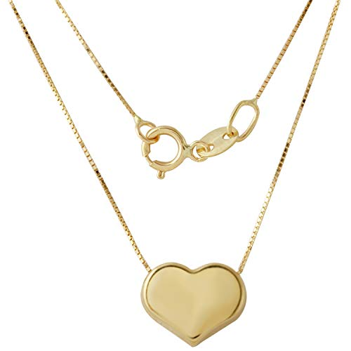 Gold Italian Heart - Bee Jewels Women's 14k Yellow Gold Italian Box Chain Heart Pendant Necklace, 16