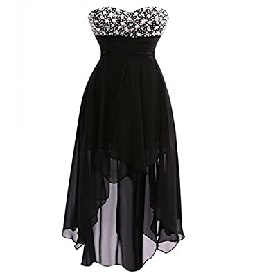 Guqier Dress Women's Strapless High Low Beads Homecoming Dresses