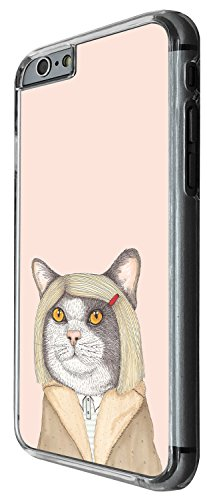 1292 - Cool Fun Trendy cute kwaii cat feline kitten hair dressed up human funny Design iphone 5C Coque Fashion Trend Case Coque Protection Cover plastique et métal - Clear
