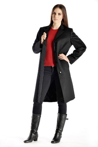 Cashmere Womens Overcoat - Women's Knee Length Overcoat in Pure Cashmere (Black, 6)