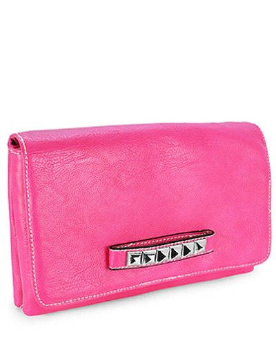 Metal Studded Clutch Purse with Leopard Lining (Fuschia), Bags Central