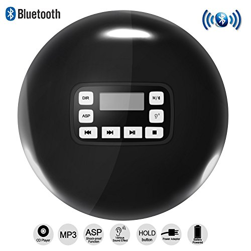Portable Bluetooth CD Player LCD Display/Headphone Jack Anti-Skip Protection Anti-Shock Ultra Thin Personal CD Music Disc Player Kids Adults Students Black DeeFec
