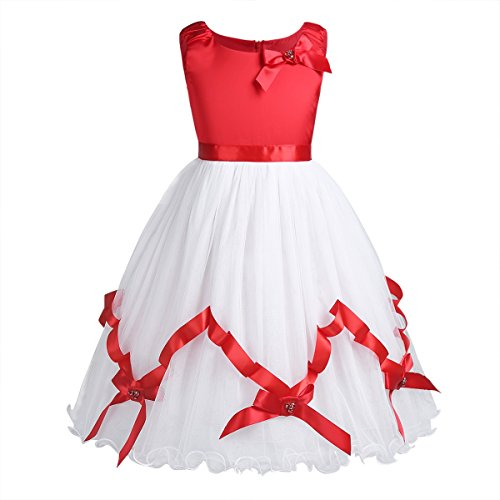 Freebily Girls Satin Mesh Christmas Sleeveless Flower Girl Dress Princess Pageant Wedding Party Dress Red&White 7-8 by Freebily