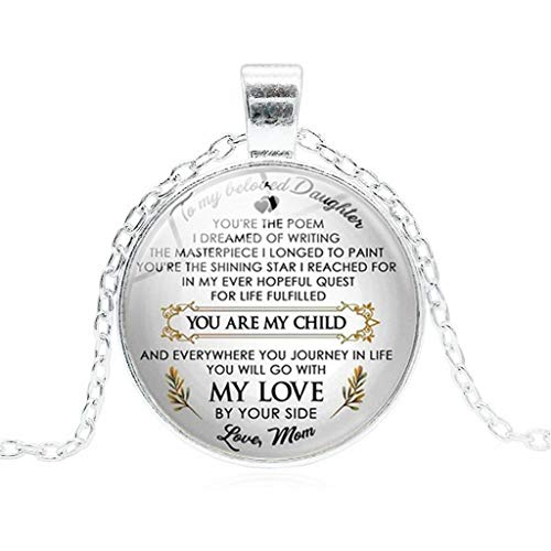 (vmree You are My Child Glass Dome Letter Picture Pendant Necklace Heart-Warming Jewelry Charm Pendant Collarbone Chain Ideal Jewelry Gift Clothing Accessories (Silver))