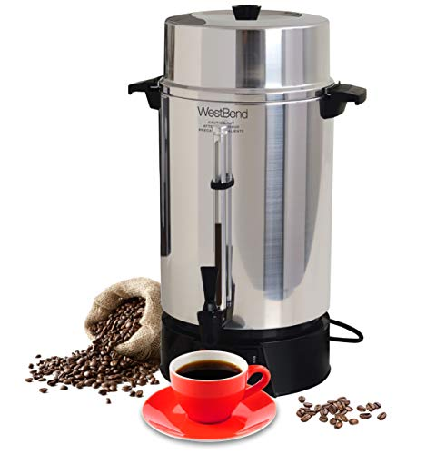 West Bend 33600 Highly Polished Aluminum Commercial Coffee Urn Features Automatic Temperature Control Large Capacity with Quick Brewing Smooth Prep and Easy Clean Up, 100-Cup, Silver (Clean Coffee Maker)