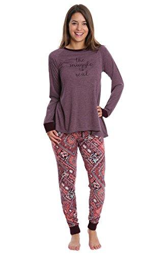 Ivory Eggplant (Wallflower Women's Pajamas Super Suede Jogger Lounge Pant Sleep Set - Eggplant With Berry Patchwork, 2X)