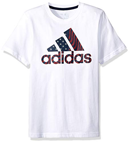 adidas Boys' Little Short Sleeve Graphic Tee Shirt, USA ADI White, 4