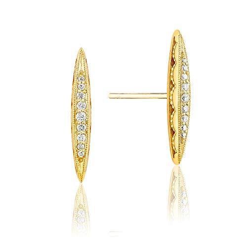 Tacori SE229Y 18K Yellow Gold The Ivy Lane Diamond Pavé Surfboard Stud Earrings (0.11 cttw, H to I Color, I2 to I3 Clarity)