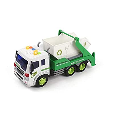 MeeYum Kids Role Play Vehicle Toys Friction Powered Pull Back Recycling Garbage Truck with Lights and Sounds: Toys & Games