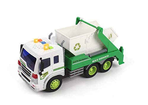 MeeYum Kids Role Play Vehicle Toys Friction Powered Pull Back Recycling Garbage Truck with Lights and Sounds