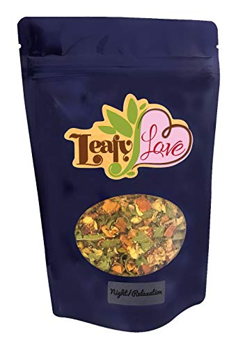 Night Relaxation All Natural Loose Leaf Tea - Apple Peels, Melissa Leaf, Jasmine Flower- Excellent Quality Sleep - Helps with Anxiety and Stress - Caffeine ()