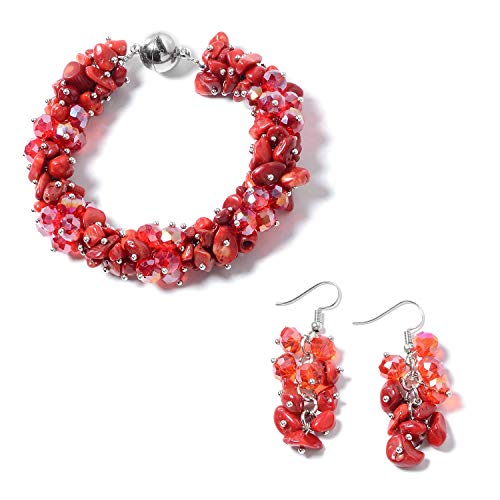 Red Coral Bracelet Chip (Coral Red Beads Stainless Steel Earrings Bracelet with Magnetic Clasp Jewelry Set for Women 8