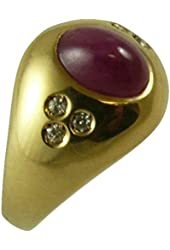 Ruby Ring 1.75ct 14k Yellow Gold with Diamonds