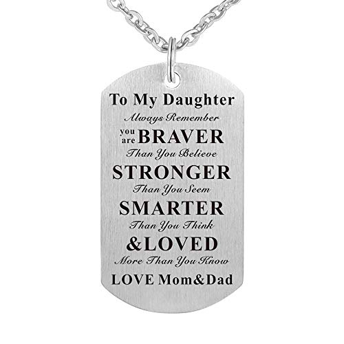 (Kisseason to My Daughter Gift Jewelry Dog Tag Keychain Pendant Necklace from Mom and Dad)