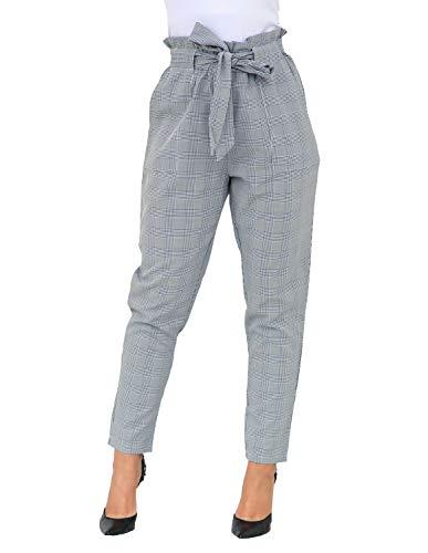 Women's Students Winter Linen Tie High Waist Striped Plaid Straight Leg Ankle Pants Slim Harem Pants Pocket