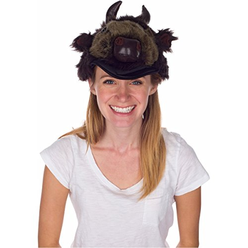 (Bison) Animal Hat, Realistic Plush Costume Headwear, 1 Size (Bison Plush)