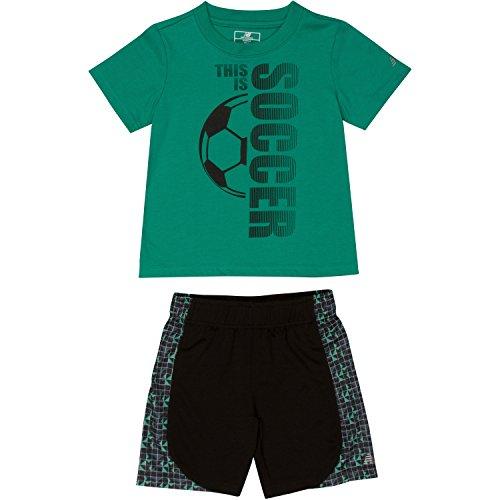 New Balance Baby Boys' Athletic Tee and Short Set, Jade/Geometric, 24 (Balance Set)