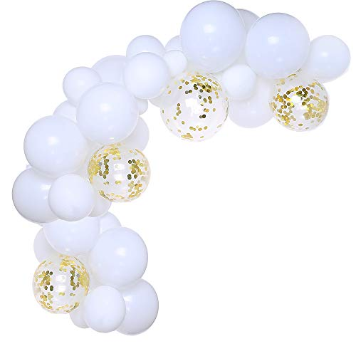 White and Gold Confetti Balloons 100pcs 12 inch Party Latex Balloons Birthday Helium Balloons